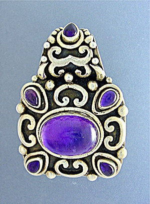 Sterling Silver Cabochon Amethyst Pendant (Image1)