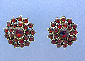 Antique Garnet Clip Earrings