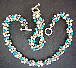 Necklace Taxco Mexico Sterling Silver Turquoise Berries (Image1)