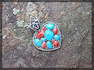 Native American Turquoise Spiny Oyster Heart Sterling S