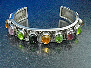 David Troutman Sterling Silver Peridot Citrine Tourmali