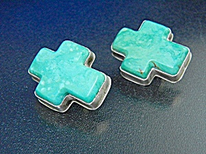David Troutman Turquoise Sterling Silver Cross Clip Ear