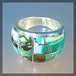 Turquoise & Opal Inlay Ring Sterling Silver Gl Miller