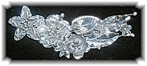 STERLING SILVER FLOWERS AND LEAVES PIN....... (Image1)