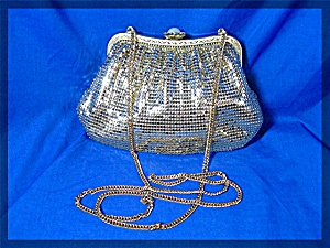 Gold Mesh Whiting  Davis Evening Bag Pearl Rhinestone T (Image1)