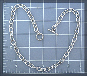 Sterling Silver Toggle Clasp Chain Link  Necklace Mexic (Image1)