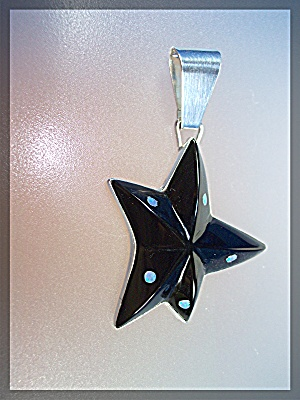 Pendant Black Onyx Opal Sterling Silver Star  G. Miller (Image1)