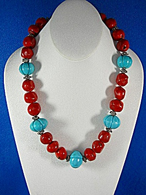 Necklace  Carved Turquoise Coral Silver Spacers (Image1)