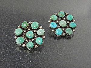Earrings Turquoise Sterling Silver Clips Signed H H  (Image1)
