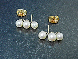 Cultured Pearls Gold Pierced Earrings