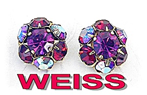 WEISS Earrings Bubble Gum Pink & Cranberry Borealis (Image1)