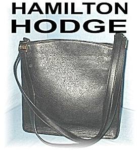 Black Leather Suede Lined Hamilton Dodge Bag (Image1)