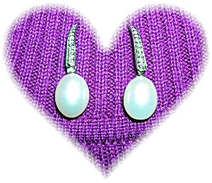 14 K WHITE GOLD DIAMOND and PEARL EARRINGS... (Image1)