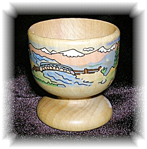 HAND PAINTED WOODEN EGG CUP, EVIAN..... (Image1)