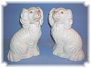 STAFFORDSHIRE LIKE ITALIAN POTTERY DOGS.... (Image1)