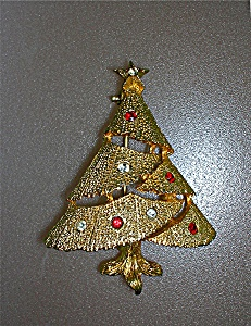 Hobe Christmas Tree Gold Red Clear Crystal Brooch