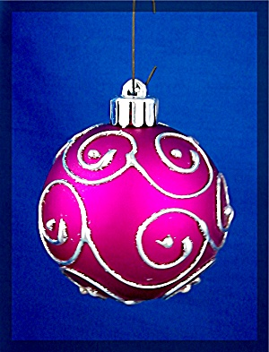 Christmas Tree Ornament, royal purple w/ raised silver (Image1)
