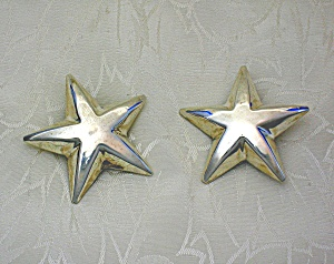 Taxco Mexico Sterling Silver STAR Clip Earrings (Image1)