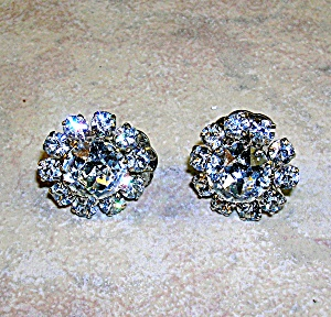 Austrian Crystal Rodium Silver Flower Clip Earrings (Image1)