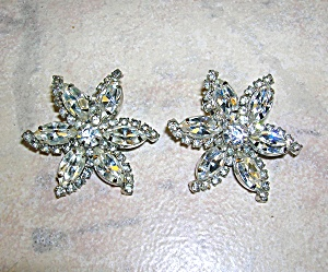 WEISS Crystal Silverf Flower Clip Earrings (Image1)