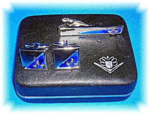 Masonic Tie Clip And Cuff Links Original Foster Box