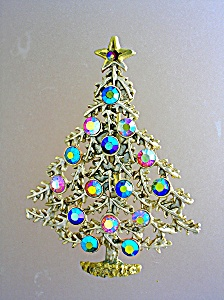 Christmas Tree Goldtone Brooch Borealis Rhinestones
