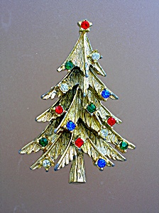 Christmas Tree Goldtone Red Blue Green Crystal Brooch (Image1)
