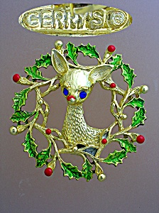 Christmas Holly Reindeer Gold Crystal Brooch Gerrys (Image1)