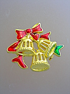 Christmas Bells Brooch Gold tone green Redd Enamel (Image1)