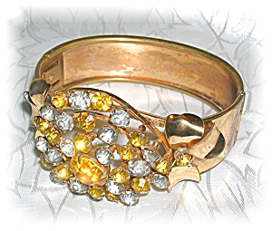 Gold Wash Rhinestone Bangle Bracelet (Image1)