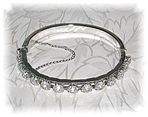 Silvertone Rhinestone Bangle Bracelet (Image1)
