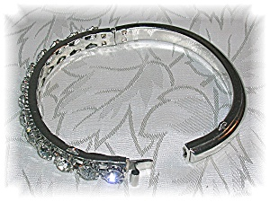 Silvertone Crystal Rhinestone Bangle Bracelet