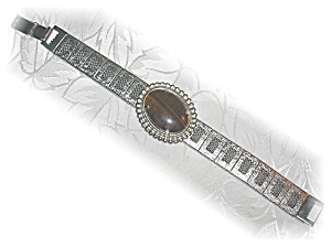 Brushed Silvertone Tiger Eye Bracelet (Image1)