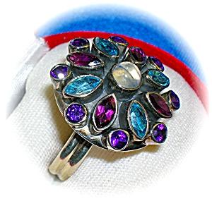 Sterling Silver Blue Topaz Moonstone Amethyst Ring . . (Image1)