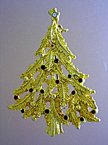 Christmas Tree Colored Goldtone Pin Brooch (Image1)