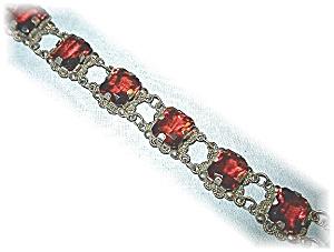 Vintage Silver Amber Glass Bracelet. (Image1)