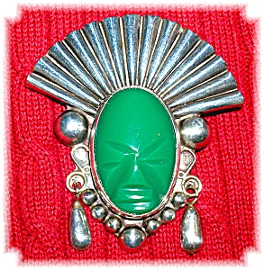 Sterling Silver Green Jade Face Brooch Mexico (Image1)