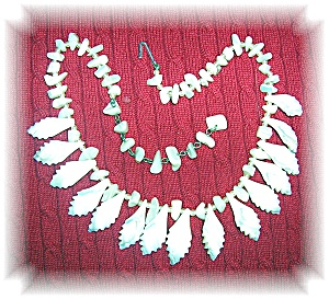 Japanese Mother Of Pearl Leaf Necklace