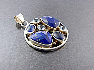 Pendant Sterling Silver Blue Topaz Lapis Iolite  (Image1)