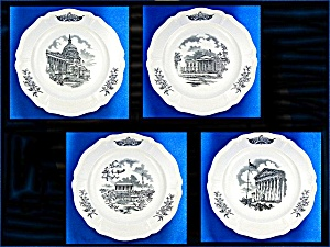 WEDGWOOD  FEDERAL CITY PLATES, Set of 4, Black Transfer (Image1)