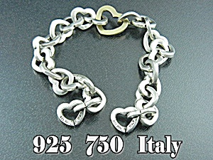 Sterling Silver Hearts Link Bracelet Italy