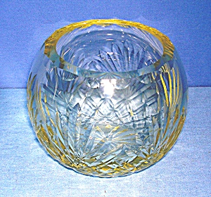 Crystal Rose Bowl Yellow Tint Glass