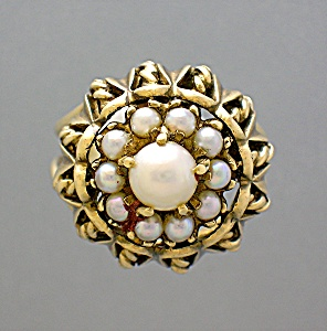 Ring 10k Gold And Pearl Dome Vintage