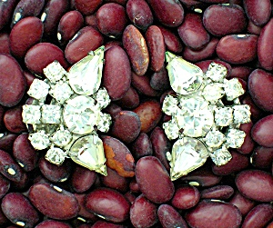 Crystal Silvertone Vintage  Clip Earrings (Image1)