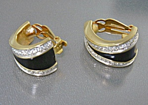 Swarovski Crystal Enamel Gold Clip Earrings (Image1)