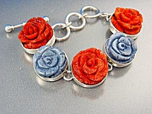 Charles Albert Sterling Silver Red Blue Coral Bracelet (Image1)