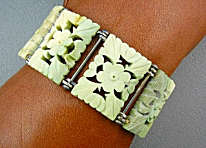 Bone Ivory Sterling Silver Chinese Bracelet 50s