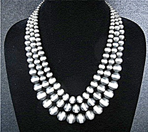 Sterling Silver 3 Strand Navajo Pearls Necklace
