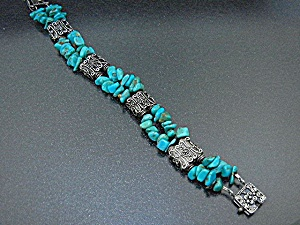 Silver And Turquoise 2 Strand Bracelet