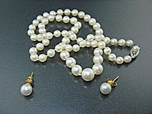 10k Gold Clasp Cultured Pearl Necklace And Earrings
